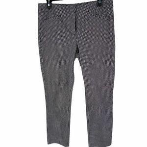 J Jill Capri Cropped Pants 6 Black & White Print